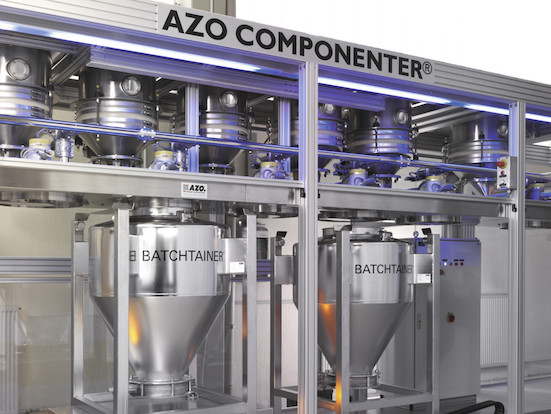 AZO COMPONENTER Batching Equipment Linear Design with Mobile Scale and BATCHITAINER®